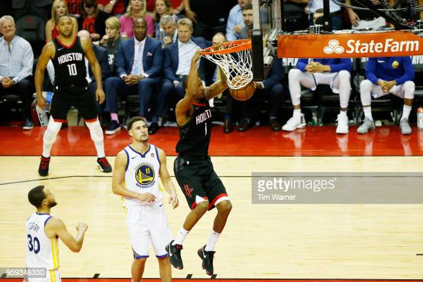 Trevor Ariza of the Houston Rockets dunks against the Golden State Warriors in the fourth quarter of Game Two of the Western Conference Finals of the...