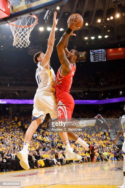 Trevor Ariza of the Houston Rockets goes to the basket against the Golden State Warriors during Game Three of the Western Conference Finals during...