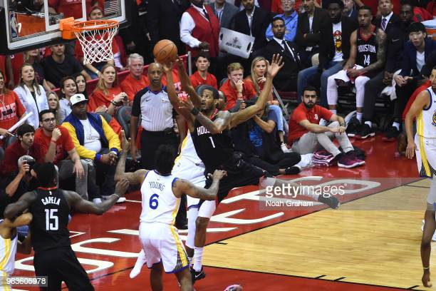 Trevor Ariza of the Houston Rockets goes to the basket against the Golden State Warriors in Game Seven of the Western Conference Finals during the...