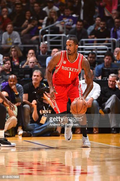 Trevor Ariza of the Houston Rockets handles the ball against the Los Angeles Lakers on October 26 2016 at STAPLES Center in Los Angeles California...