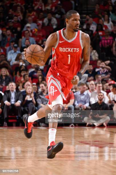 Trevor Ariza of the Houston Rockets handles the ball against the LA Clippers on March 15 2018 at the Toyota Center in Houston Texas NOTE TO USER User...
