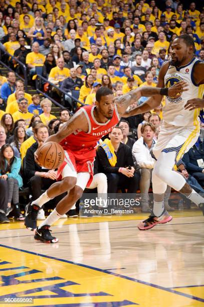 Trevor Ariza of the Houston Rockets handles the ball against the Golden State Warriors during Game Three of the Western Conference Finals during the...
