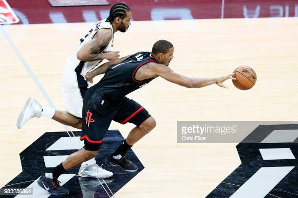 Trevor Ariza of the Houston Rockets handles the ball against the San Antonio Spurs during Game One of the Western Conference Semifinals on May 1 2017...