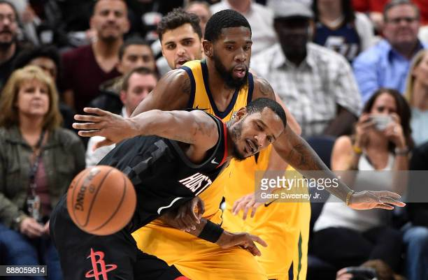 Trevor Ariza of the Houston Rockets loses the ball while being guarded by Royce O'Neale of the Utah Jazz in the second half of the 112101 win by the...
