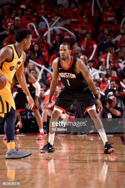 Trevor Ariza of the Houston Rockets plays defense against the Utah Jazz in Game One of the Western Conference Semifinals during the 2018 NBA Playoffs...