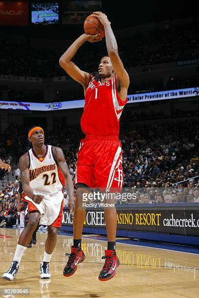 Trevor Ariza of the Houston Rockets shoots a jump shot during the game against the Golden State Warriors at Oracle Arena on October 28 2009 in...