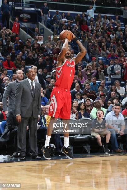 Trevor Ariza of the Houston Rockets shoots the ball against the New Orleans Pelicans on January 26 2018 at Smoothie King Center in New Orleans...