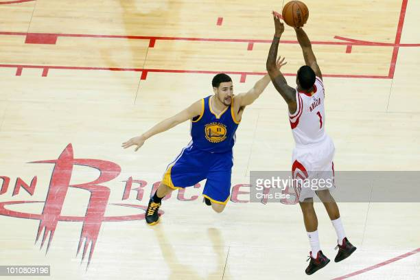 Trevor Ariza of the Houston Rockets shoots the ball against the Golden State Warriors during Game Four of the Western Conference Finals during the...
