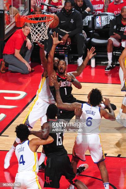 Trevor Ariza of the Houston Rockets shoots the ball against the Golden State Warriors during Game Seven of the Western Conference Finals of the 2018...