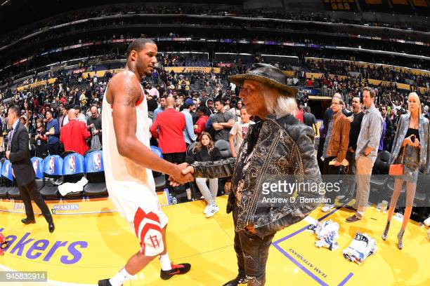 Trevor Ariza of the Houston Rockets speaks to James Goldstein after the game against the Los Angeles Lakers on April 10 2017 at STAPLES Center in Los...
