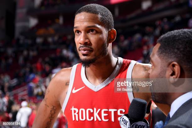 Trevor Ariza of the Houston Rockets speaks with media after the game against the Milwaukee Bucks on December 16 2017 at the Toyota Center in Houston...
