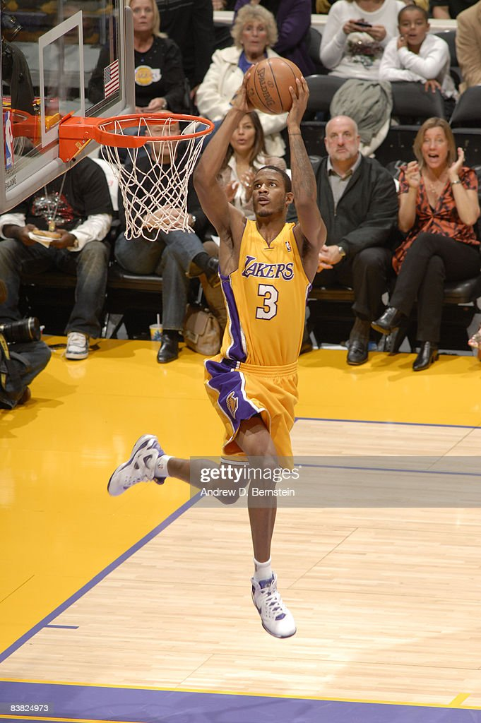 Trevor Ariza #3 of the Los Angeles Lakers goes up for an uncontested dunk during the game against the New Jersey Nets at Staples Center on November 25, 2008 in Los Angeles, California.