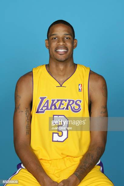 Trevor Ariza of the Los Angeles Lakers poses for a portrait during NBA Media Day on September 29 2008 at the Toyota Sports Center in El Segundo...