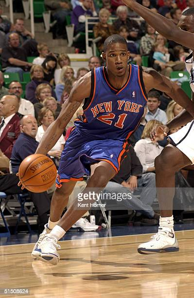 Trevor Ariza of the New York Knicks dribbles against the Utah Jazz on October 19 2004 at the Delta Center in Salt Lake City Utah NOTE TO USER User...