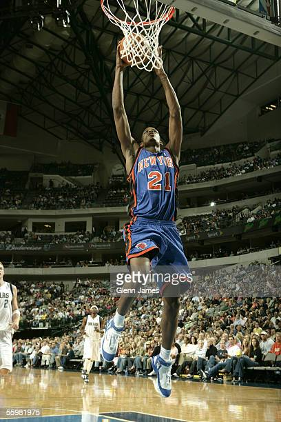 Trevor Ariza of the New York Knicks goes in for the dunk against the Dallas Mavericks on October 21 2005 at American Airlines Center in Dallas Texas...