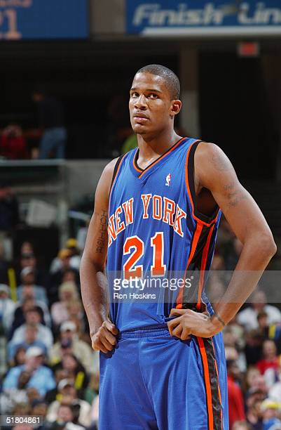 Trevor Ariza of the New York Knicks looks on while facing the Indiana Pacers November 13 2004 at Conseco Fieldhouse in Indianapolis Indiana The...
