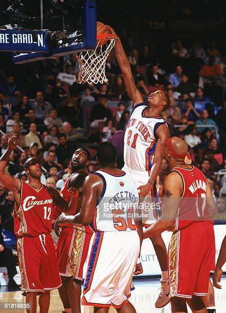 Trevor Ariza of the New York Knicks makes a dunk against the Cleveland Cavaliers at Madison Square Garden on November 21 2004 in New York New York...