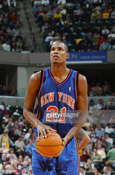 Trevor Ariza of the New York Knicks shoots a free throw against the Indiana Pacers November 13 2004 at Conseco Fieldhouse in Indianapolis Indiana The...