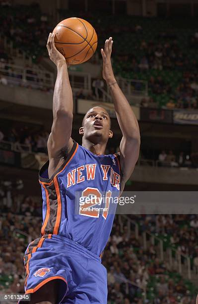 Trevor Ariza of the New York Knicks shoots a layup against the Utah Jazz during the preseason game at Delta Center on October 19 2004 in Salt Lake...