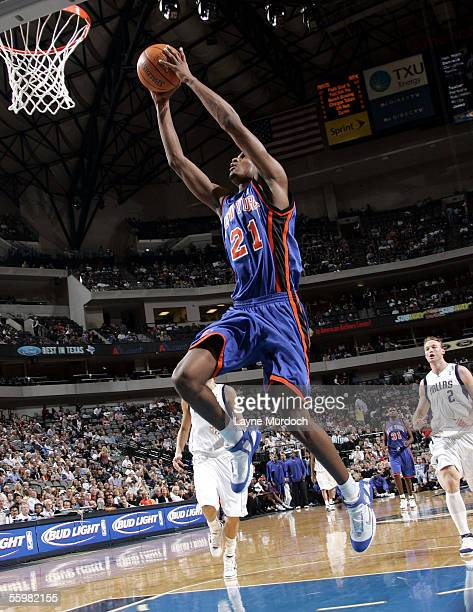 Trevor Ariza of the New York Knicks shoots the ball against of the Dallas Mavericks on October 21 2005 at the American Airlines Center in Dallas...
