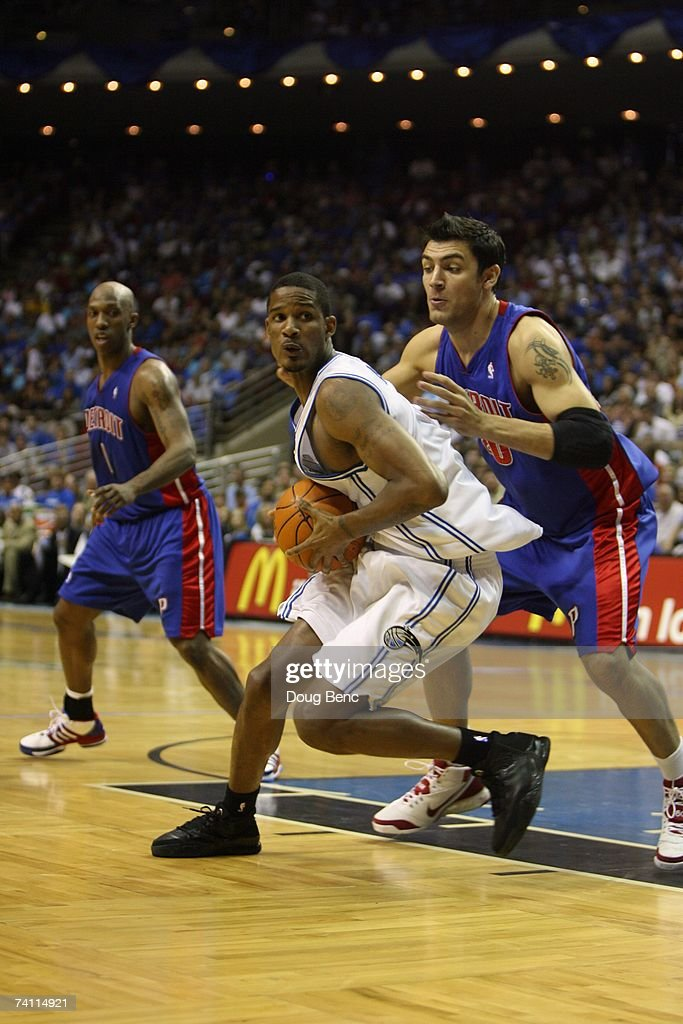 Trevor Ariza #1 of the Orlando Magic makes a move against Carlos Delfino #20 of the Detroit Pistons in Game Four of the Eastern Conference Quarterfinals during the 2007 NBA Playoffs at Amway Arena on April 28, 2007 in Orlando, Florida. The Pistons won 97-93 and won the series 4-0.