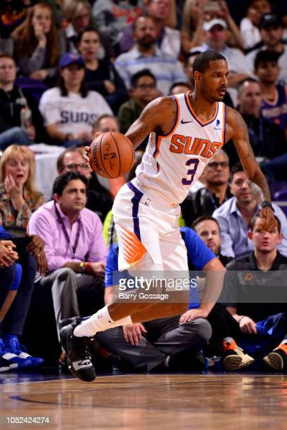 Trevor Ariza of the Phoenix Suns handles the ball against the Dallas Mavericks during a game on October 17 2018 at Talking Stick Resort Arena in...