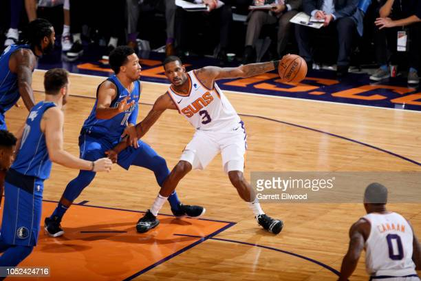 Trevor Ariza of the Phoenix Suns handles the ball against the Dallas Mavericks on October 17 2018 at Talking Stick Resort Arena in Phoenix Arizona...