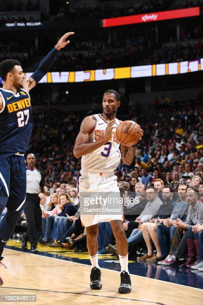 Trevor Ariza of the Phoenix Suns handles the ball against the Denver Nuggets on October 20 2018 at the Pepsi Center in Denver Colorado NOTE TO USER...