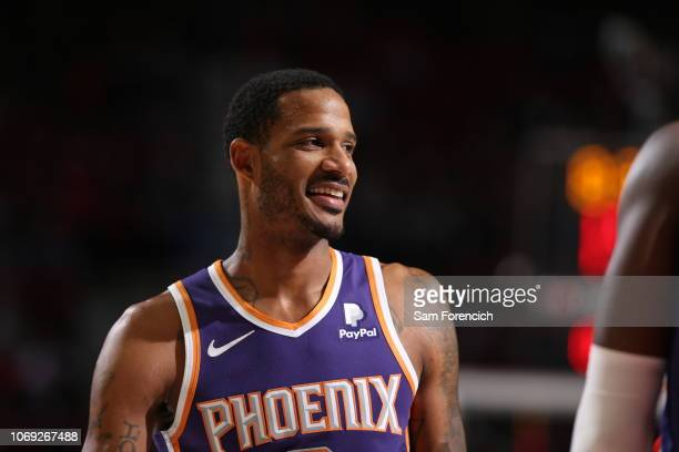 Trevor Ariza of the Phoenix Suns looks on during the game against the Portland Trail Blazers on December 6 2018 at the Moda Center Arena in Portland...