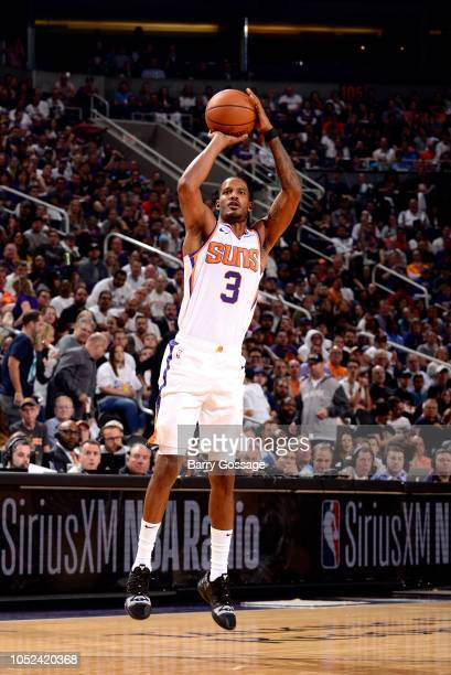 Trevor Ariza of the Phoenix Suns shoots the ball against the Dallas Mavericks during a game on October 17 2018 at Talking Stick Resort Arena in...