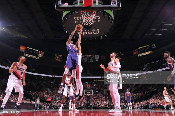 Trevor Ariza of the Phoenix Suns shoots the ball against the Portland Trail Blazers during a preseason game on October 10 2018 at Moda Center in...