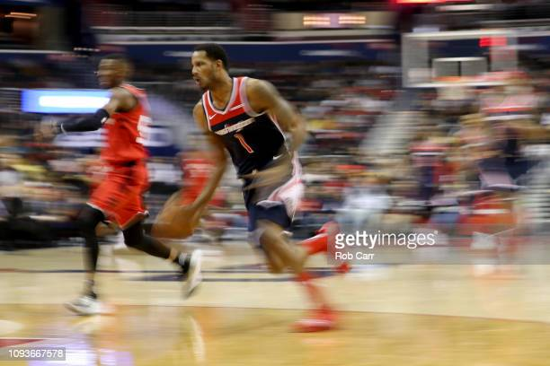 Trevor Ariza of the Washington Wizards dribbles the ball against the Toronto Raptors in the first half at Capital One Arena on January 13 2019 in...