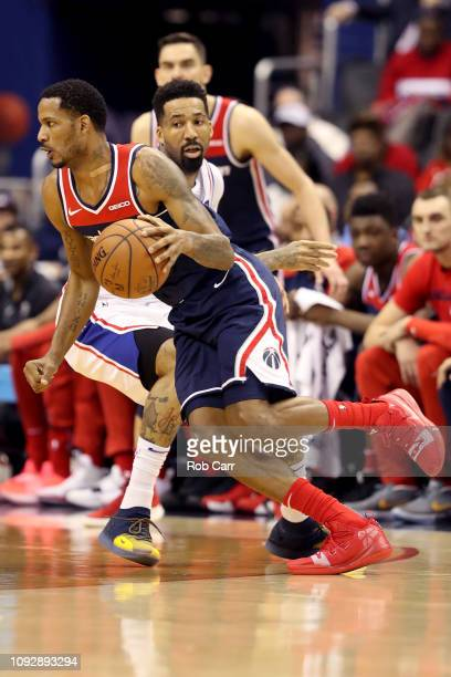Trevor Ariza of the Washington Wizards drives to the basket against the Philadelphia 76ers in the first half at Capital One Arena on January 09 2019...