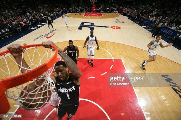 Trevor Ariza of the Washington Wizards dunks the ball against the Milwaukee Bucks on January 11 2019 at Capital One Arena in Washington DC NOTE TO...