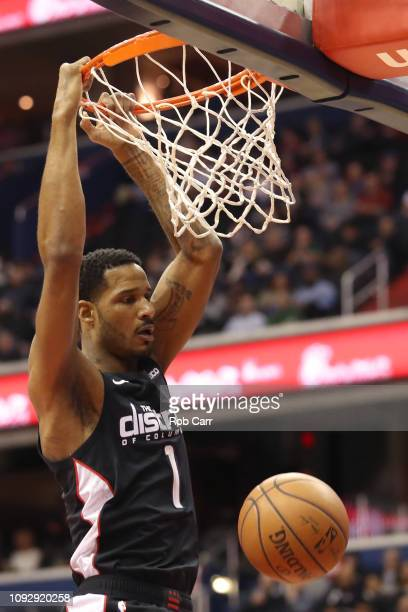 Trevor Ariza of the Washington Wizards dunks the ball against the Milwaukee Bucks in the first half at Capital One Arena on January 11 2019 in...