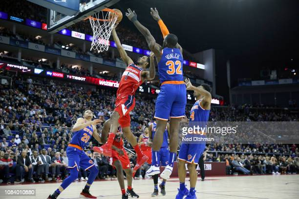 Trevor Ariza of the Washington Wizards goes to the basket against the New York Knicks during the 2019 NBA London Game on January 17 2019 at The O2...