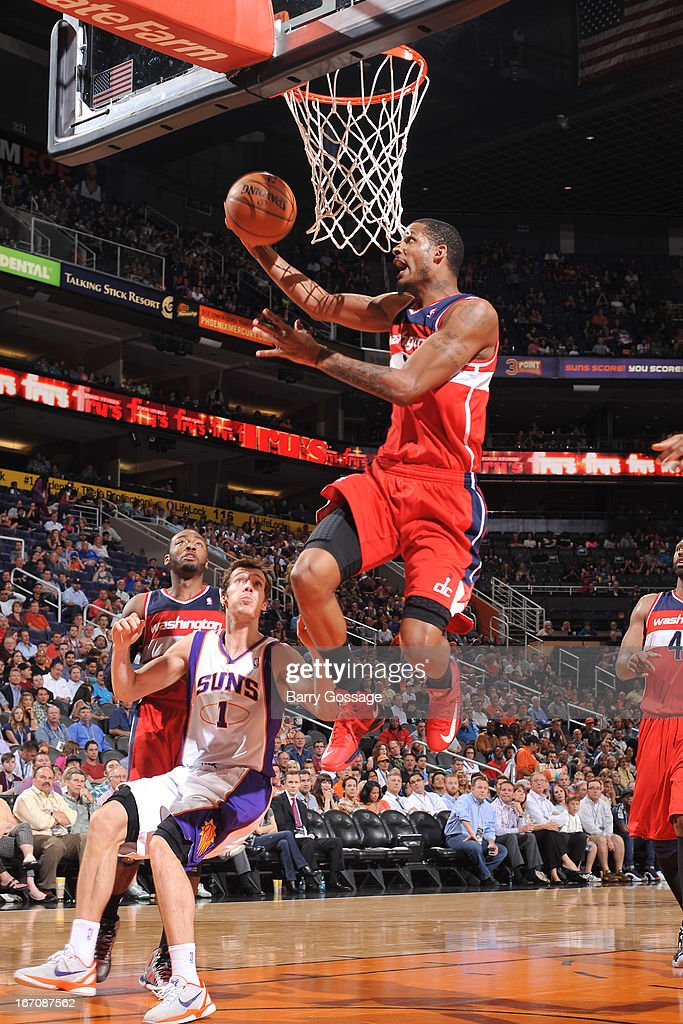 Trevor Ariza #1 of the Washington Wizards goes up for the shot against the Phoenix Suns on March 20, 2013 at U.S. Airways Center in Phoenix, Arizona.
