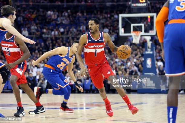Trevor Ariza of the Washington Wizards handles the ball against the New York Knicks during the 2019 NBA London Game on January 17 2019 at The O2...