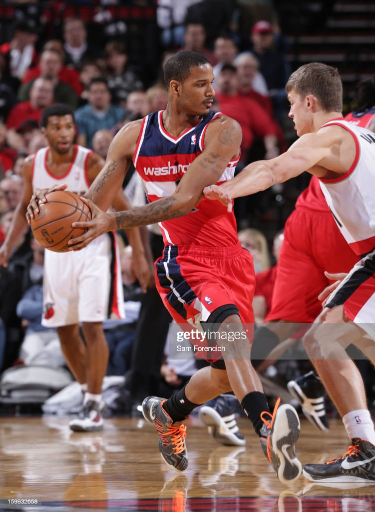 Trevor Ariza #1 of the Washington Wizards passes the ball against the Portland Trail Blazers on January 21, 2013 at the Rose Garden Arena in Portland, Oregon.