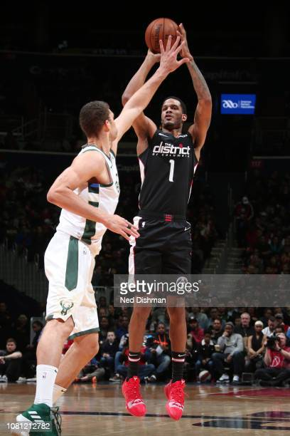 Trevor Ariza of the Washington Wizards shoots the ball against the Milwaukee Bucks on January 11 2019 at Capital One Arena in Washington DC NOTE TO...