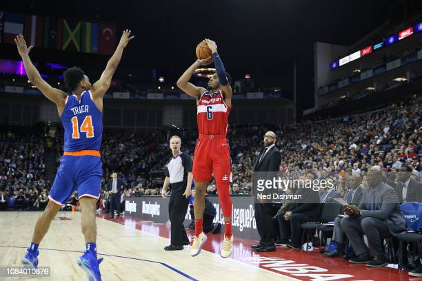 Trevor Ariza of the Washington Wizards shoots the ball against the New York Knicks during the 2019 NBA London Game on January 17 2019 at The O2 Arena...