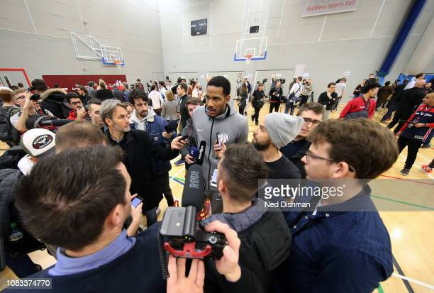 Trevor Ariza of the Washington Wizards speaks to the media during practice as part of the 2019 NBA London Global Game at Citysport on January 16 2019...