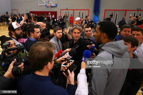 Trevor Ariza of the Washington Wizards speaks with members of the media during a Washington Wizards Media Session at CitySport on January 16 2019 in...