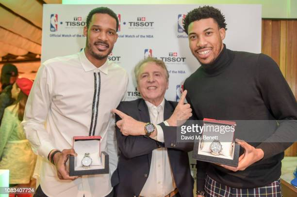 Trevor ArizaMr Thieubaud CEO of Tissot and Otto Porter Jr attend the Tissot party celebrating their partnership with the NBA as the official...