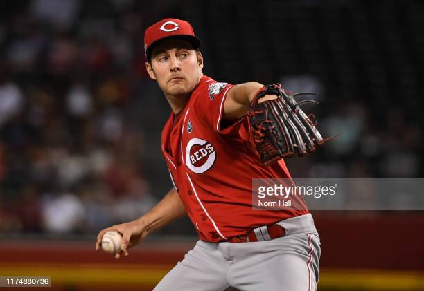 Trevor Bauer of the Cincinnati Reds delivers a first inning pitch against the Arizona Diamondbacks at Chase Field on September 15 2019 in Phoenix...