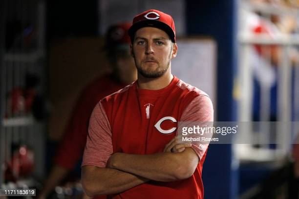 Trevor Bauer of the Cincinnati Reds looks on against the Miami Marlins at Marlins Park on August 28 2019 in Miami Florida