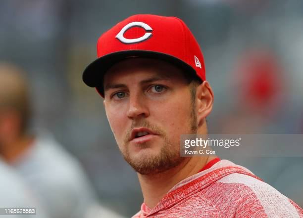 Trevor Bauer of the Cincinnati Reds looks on during the second inning against the Atlanta Braves at SunTrust Park on August 01 2019 in Atlanta Georgia
