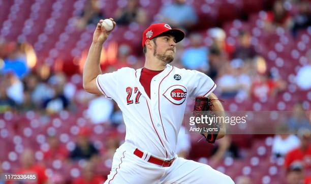 Trevor Bauer of the Cincinnati Reds throws a pitch against the Philadelphia Phillies at Great American Ball Park on September 04 2019 in Cincinnati...