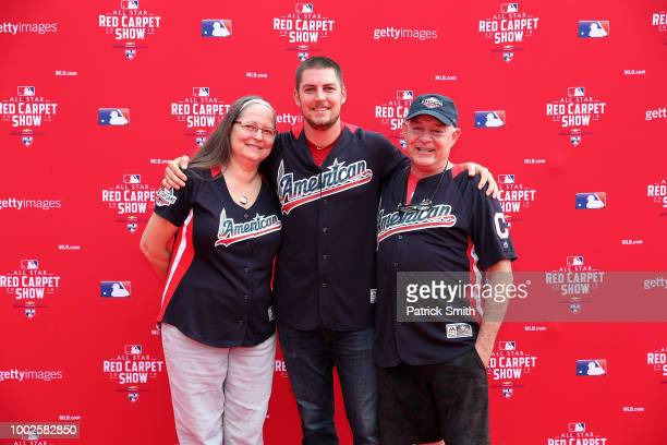 Trevor Bauer of the Cleveland Indians and the American League and guests attend the 89th MLB AllStar Game presented by MasterCard red carpet at...