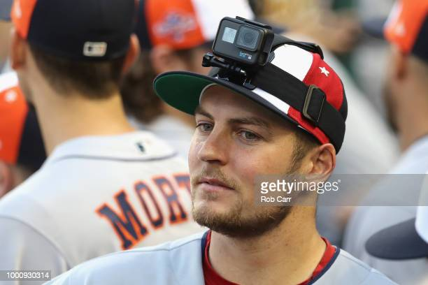 Trevor Bauer of the Cleveland Indians and the American League looks on with a GoPro on his hat during the 89th MLB AllStar Game presented by...